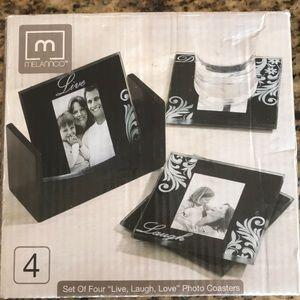 Melannco black photo coasters